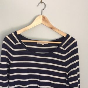 Loft navy blue strip sweater medium
